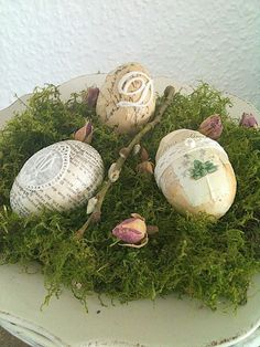 Embellished eggs in moss via princessgreeneye