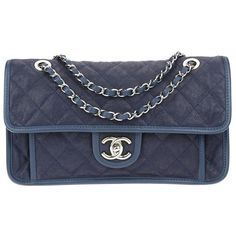 Chanel Navy Blue Quilted Caviar French Riviera Flap Bag (412411201) (4,260 CAD) ❤ liked on Polyvore featuring bags, handbags, shoulder bags, navy blue, chanel shoulder bag, flap bag, leather purses, man bag and leather handbags