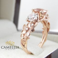 Three stone ring 14K Rose Gold Morganite by CamelliaJewelry