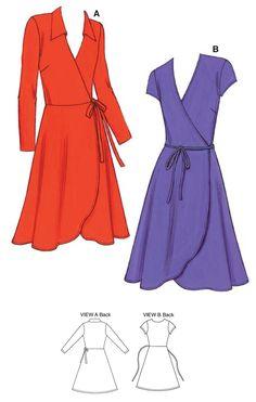 Kwik Sew Sewing Pattern Misses' Tulip-Hem Wrap Dresses Kwik Sew Patterns, Dress Sewing Patterns, Clothing Patterns, Pattern Dress, Wrap Pattern, Skirt Patterns, Coat Patterns, Blouse Patterns, Diy Clothing
