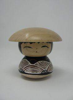 One Bun Kokeshi Doll — Creations Gallery Wooden Cat, Asian Doll, Japan Design, Japanese Porcelain, Cat Doll, Doll Costume, Kokeshi Dolls, Wooden Dolls, Oriental