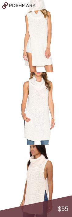 "✨ Free People White Horses Turtleneck Tunic ✨ DETAILS & CARE A voluminous, face-framing turtleneck tops a chunky-knit sleeveless tunic in a long silhouette streamlined with thigh-high side slits. 34"" length  100% cotton. Hand wash cold, dry flat. Free People Tops Tunics"