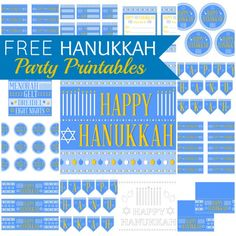 "FREE Hanukkah Party Printables from Printabelle - This collection includes: a welcome sign, a ""Happy Hanukkah' banner and mini banner, cupcake toppers, invitations, gift bag circles, gift bag tags, mini candy bar wrappers, silverware wrappers, water bottle wrappers, subway art, treat toppers, menu cards, and a coloring sheet for kids."