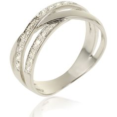Bague femme, diamant 0,20 ct, or gris, 3.26g, Style classique - Manège à Bijoux