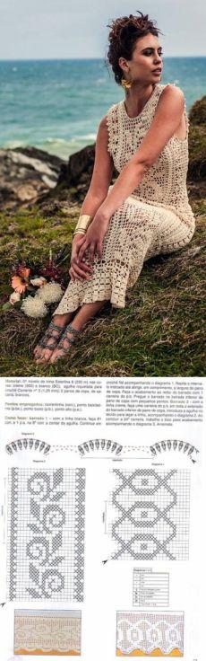 Урок филейного вязания. Вяжем филейное платье | Amac