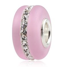 Kera Style Pink Murano Frosted Glass Bead with Clear Swarovski Crystal October Birthstone 925 Sterling Silver Solid Core Charm Fits Pandora Chamilia Biagi Troll Beads Europen Style Bracelets: Jewelry: Amazon.com