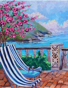 Original Oil Painting Santorini Greece 16 x 20 Greek Isle