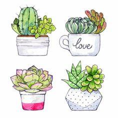 Succulent Painting Art Watercolor Print New Ideas Succulents Drawing, Cactus Drawing, Cactus Painting, Watercolor Succulents, Watercolor Cactus, Cactus Art, Watercolor Print, Watercolor Paintings, Succulents Art