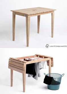 Laundry Table // Living in a Shoebox. OMG such great use - use for coffee table or treated for outdoors and when need hang your clothes to dry!