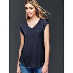 Gap Women Cap Sleeve Pocket Tee ($19) ❤ liked on Polyvore featuring tops, t-shirts, regular, true indigo, curved hem tee, gap t shirts, relaxed fit tee, cap sleeve tee and pocket t shirts