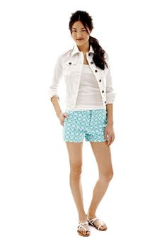 jcp denim jacket and printed shorts
