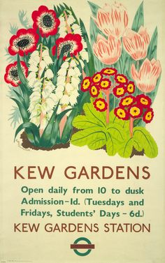 Kew Gardens posters produced by london underground.