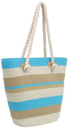 MAGID Striped Large Bucket Tote Bag with Rope Handles- interesting handles Crochet Handbags, Crochet Purses, Burlap Tote, Crochet Shoulder Bags, Sweet Bags, Macrame Bag, Craft Bags, Simple Bags, Knitted Bags