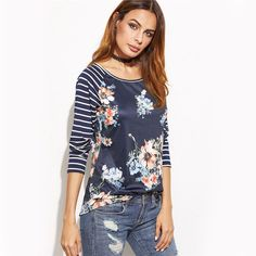 ad8abb333c96b5 Women Printed Long Sleeve T shirt Fashion T Shirt Navy Striped Raglan  Sleeve Floral Print T-shirt
