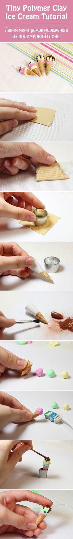 Лепим миниатюрный рожок мороженого из полимерной глины / Tiny Polymer clay Ice Cream Tutorial #diy