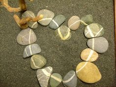 wishing rocks, scottish stones: a rock, stone with unbroken line around the circumference of the stone. trace your finger along the line while making a wish. Heart In Nature, Heart Art, Heart Shaped Rocks, Deco Nature, Rock And Pebbles, I Love Heart, Sticks And Stones, Stone Heart, Rock Crafts
