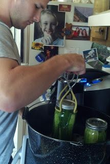 Canning Dill Pickles with homegrown ingredients and good-looking mountain men