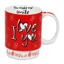 """You Make Me Smile Musical Mug Express to your valentine your true love and feelings over her morning coffee by playing """"you make me smile"""" music in this coffee mug."""