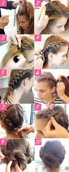 Prom Hair Tutorial Updo, New Concept! - Do you want to hairstyle prom like prom hair tutorial updo? Talking about hairstyle trends, hair cutting style and Updo Hairstyles Tutorials, Braided Bun Hairstyles, Pretty Hairstyles, Elegant Hairstyles, Easy Hair Tutorials, Hairstyle Braid, Hairstyle Ideas, Easy Braided Updo, Cute Updos Easy