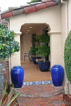 Spanish Mission Walkway - Willow Glen: Spanish-Style Home with a Dining Room Fireplace
