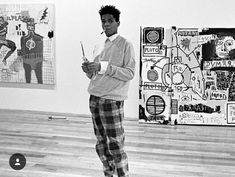 Jean-MichelBasquiat preparing for his first London show, The Times of Basquiat at the I.C.A. Gallery, December 1984.