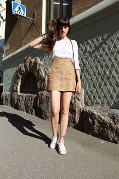 New in my Blog today! Visit http://pazhalabirodriguez.com/suede-skirt-lace-t-shirt/ Much love! #ootd #outfit #suede #suedeskirt #lace #laceblouse #converse #sneakers