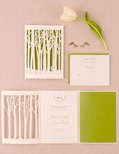Woodland Pretty Laser-Cut and folded wedding invitations from WeddingStar