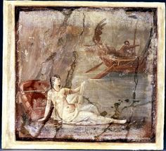 Wall painting: Ariadne waking on the shore of Naxos; she sits on a mattress with a red cushion, wearing white drapery and a red necklace and armlets; behind her is a rocky cliff; she points at the ship of Theseus sailing away in the distance. Found in Herculaneum