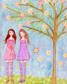 Twin SIsters Art Print, Large Poster Print 16 x 20 Inches, Twin Girls