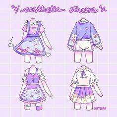 Cute Art Styles, Cartoon Art Styles, Anime Outfits, Mode Outfits, Drawing Anime Clothes, Manga Clothes, Clothing Sketches, Art Inspiration Drawing, Cute Kawaii Drawings