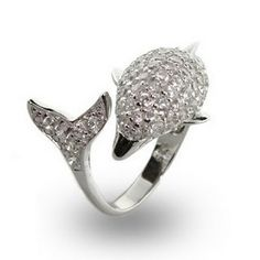 I need to get this for my daughter...because she loves dolphins Anchor Jewelry, Anchor Necklace, Dolphin Jewelry, Animal Rings, Beautiful Rings, Cocktail Rings, Bridal Jewelry, Silver Jewelry, Ring Designs