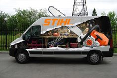 Stihl chain saw van decoration Car Prints, Poster Prints, Moto Custom, Vehicle Signage, Truck Caps, Van Wrap, Car Memes, Car Advertising, Commercial Vehicle