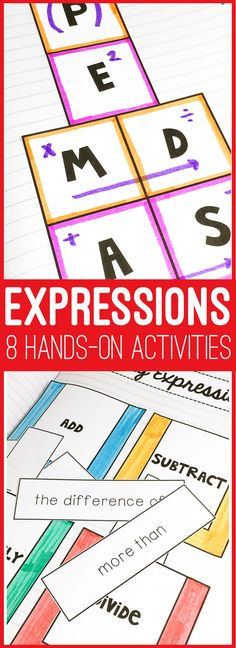 Expressions Activity Bundle - writing algebraic and verbal expressions activities for the middle school math class.  Save time planning lessons. Fun, hands-on activities to keep students engaged | maneuveringthemiddle.com