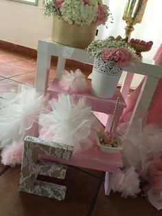Pink and gold baby shower party decorations! See more party planning ideas at CatchMyParty.com!