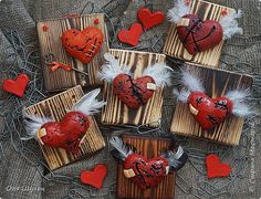 Поделка изделие Валентинов день Лепка раненые сердца Тесто соленое фото 1