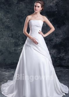 Sweep Taffeta Ruched Appliques Strapless Lace Up White A-line Sleeveless Wedding Dresses