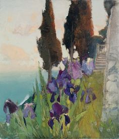 Iris's and Cypress's by Igor Shipilin Oil Painting Flowers, Gouache Painting, Oil Paintings, Landscape Artwork, Abstract Landscape, Collages, Russian Landscape, Russian Art, Beautiful Paintings