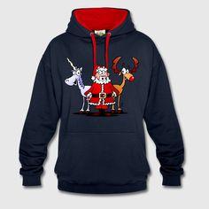 Kerstman, rendier, unicorn Sweaters - Contrast hoodie.    #Christmas #hoodie #Santa #Reindeer #Unicorn #gift #gifts #fashion #Christmasgift #Spreadshirt #SOLD