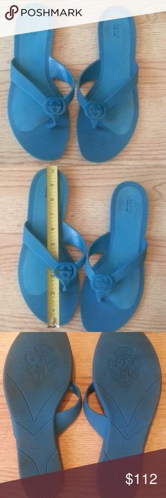 Authentic  women's Gucci flip flops Pre owned , but  as pictures show very good condition, no size shown on the flip flops but  will fit size 8 or /8,5 measurement pic #2  blue rubber Gucci Shoes