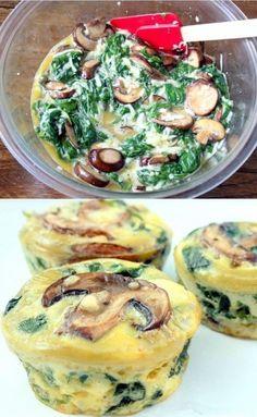 Ingenioso quiche de espinacas y champiñones en forma de muffin Sin Gluten, Quiche Muffins, Mushroom Quiche, Mini Quiches, Egg Cups, Veggie Recipes, Healthy Recipes, Cooking Recipes, Healthy Food