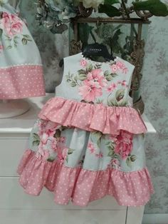Ruffle peplum at the waist Baby Girl Frocks, Frocks For Girls, Kids Frocks, Little Dresses, Little Girl Dresses, Girls Dresses, Toddler Dress, Toddler Outfits, Kids Outfits