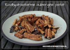 Koolhydraatarme aubergine patat op een Denby bord