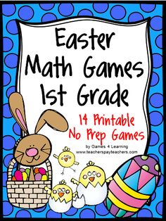 Easter Math Games First Grade by Games 4 Learning gives you fun, Easter math for the classroom.   This collection of Easter math games contains 14 printable games that review a variety of first grade skills. $