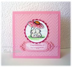 I love cute animal cards too, so what a great cute critters challenge!   Penny Black has always been such a favorite with me over the years.  I've used these cute little mice many times. Colored with copics. Tiny dots of glossy accents create water droplets on the flower petals.