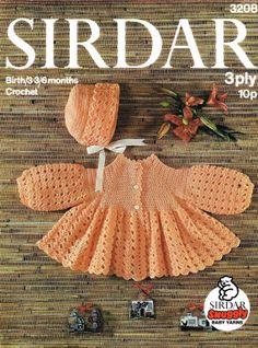 Sirdar 3208 baby matinee coat and bonnet set vintage crochet pattern PDF instant download