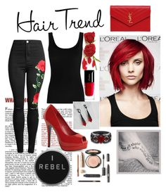 """red"" by m-bell4136 ❤ liked on Polyvore featuring beauty, Twenty, Yves Saint Laurent, Guerlain, hairtrend and rainbowhair"