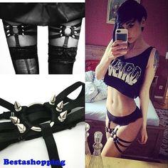Harajuku Handmade Sexy Punk Rock Studded Rivets Elastic Leg Ring Garter Belt #Bestashopping