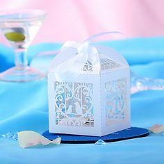 lovebirds blancos huecos-hacia fuera favor de la boda del diseño de cajas set-10 – USD $ 6.99