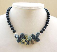 Yellow Turquoise Necklace  Gemstone Jewelry  by BigSkiesJewellery