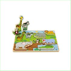 Kids Wooden Puzzles & Toys Hape Wooden Stand Up Puzzle - Wild Animals www.greenanttoys.com.au